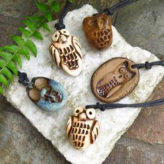 Owl Pendant / Hand Crafted Pottery Owl (ONE) / Charm Pendant Bead / Focal Jewelry Supply / Owl Lover Gift