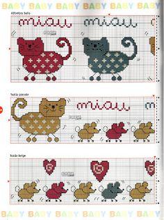 Katter Cat Cross Stitches, Cross Stitch Bookmarks, Mini Cross Stitch, Cross Stitch Borders, Cross Stitch Animals, Cross Stitching, Cross Stitch Embroidery, Embroidery Patterns, Cross Stitch Patterns