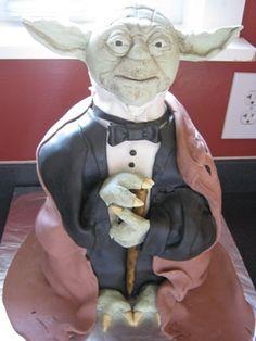 Yoda in a tux Cake