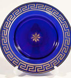 Royal blue glass plate with Greek key code pattern. Key Design, Tile Design, Dinning Table, Dining Room, Tablewares, Greek Key, Dinner Sets, Glass Table, Craft Work