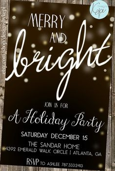 Christmas Party Invitation- Merry & Bright Lights