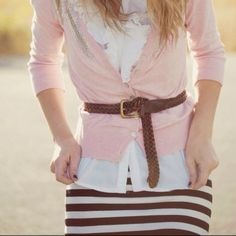 I love the belted cardigan over a collared shirt and patterned skirt!!