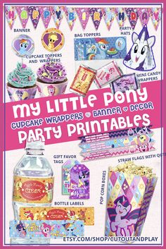My Little Pony pritnable party set.  #PartySupplies  #PartyDecor  #printableparty  #partydecorations  #partypack  #partysupplies #birthdaybanner  #MyLittlePonyLittlePonyParty  #ponytoppers  #ponylabels  #pinkiepiedigital  #kidsparty #ponycupcake  #ponybox