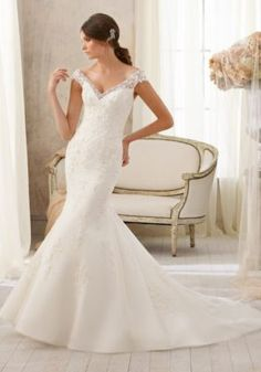 Alencon Lace, Crystal Beaded Wedding Dress by Madeline Gardner