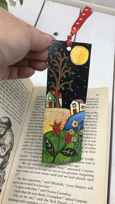 Naive Nights 4 - hand painted bookmark, one of a kind gift, original art naif by Christine Onward Bookmarks Kids, Paper Bookmarks, Dot Painting Tools, Painted Rocks, Hand Painted, Clay Art Projects, Mini Canvas Art, Naive Art, Teaching Art