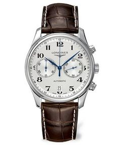 Longines Watch, Men's Swiss Automatic Chronograph Master Brown Alligator Leather Strap 40mm L26294783