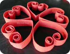 How to make Quilled Felt Hearts