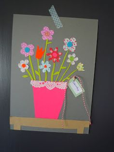 For our aunt Nathalie from Amsterdam, my daughters and I gathered a bouquet of flowers! We hope she will feel better after receiving this happy card! Washi, Diy For Kids, Crafts For Kids, Tape Crafts, Get Well, Diy Cards, Gifts For Mom, Christmas Crafts, Card Making
