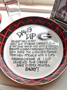 """""""Dawg Dip"""" UGA Plate-- Buy a white plate, sharpie, and bake for a design that lasts! Georgia Girls, Georgia On My Mind, Fall Football, Football Season, Pittsburgh Steelers, Dallas Cowboys, Indianapolis Colts, Cincinnati Reds, University Of Georgia"""