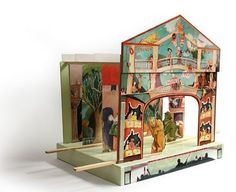 Beautifully illustrated paper theater. No longer available on site referenced. But site has a bunch of cool kid's stuff.