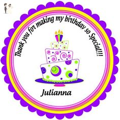 """40 Round Labels 2"""" Personalized Whimsical Scroll and Dots Birthday Cake Stickers, Custom Hangtags, Party Favors Labels, Cupcake Toppers, Feliz Cumpleanos Choice Of Size - Cake and cupcake toppers (*Amazon Partner-Link)"""