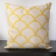 Sunshine Yellow Fishscale Square Pillow - Surya | domino.com