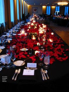 46 Trendy Ideas for wedding table settings red rose petals Black Red Wedding, Red Rose Wedding, Gothic Wedding, Wedding Colors, Wedding Flowers, Wedding Dresses, Medieval Wedding, Bridesmaid Dresses, Red Rose Petals