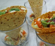 Masala papad cones is a very very simple and quick Indian snack recipe. All Indian homes have 1 or more types of papad at home so this is a very interesting twist to use papad as a snack.
