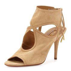Aquazzura Sexy Thing Sandal - beige suede sandals, beige suede cutout sandals, beige suede heeled sandals, beige suede cutout booties