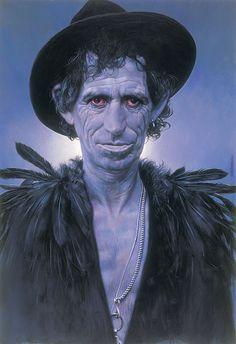 "sebastian kruger  Voodoo Richards   100 X 70 cm  ( 39 X 27 1/2 "" )  Acrylic on Board  1994"