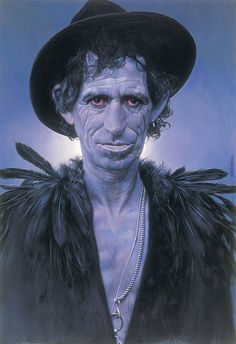 "sebastian kruger  Voodoo Richards   100 X 70 cm  ( 39 X 27 1/2 "" )  Acrylic on Board  1994 14/2"