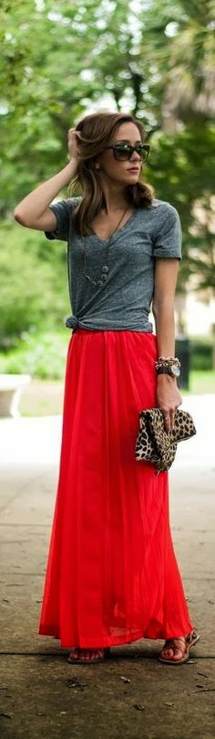 Red maxi skirt, gray v-neck, leopard clutch