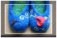 CUSTOM NEEDLE FELTED art for wool felted slippers  by StullKnits