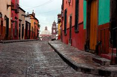 Cobbled street in Mexico