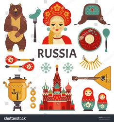 Find Russia Icons Set Vector Collection Russian stock images in HD and millions of other royalty-free stock photos, illustrations and vectors in the Shutterstock collection. Russia Culture, Culture Day, Russian Party, Around The World Theme, Around The Worlds, Russian Cartoons, Russian Tattoo, Geography For Kids, Thinking Day