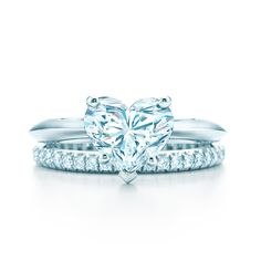Heart Shape diamond engagement ring in platinum with a Tiffany Soleste® diamond band. #TiffanyPinterest #WeddingBand