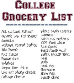 college grocery list: more like cookie dough, chips, ice cream, and beer, but I like the idea of this...