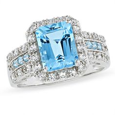 Blue Topaz and Lab-Created White Sapphire Ring in 14K White Gold with Iolite and Diamond Accents - Zales