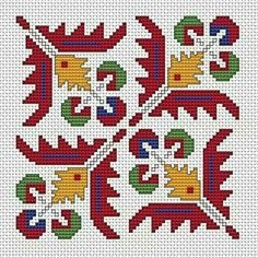 Bulgarian Ethnic Motif 1 pattern A colorful pattern based on traditional Bulgarian cross stitch.Suitable for biscornu making and contains full stitches and back stitches. Beaded Cross Stitch, Cross Stitch Borders, Cross Stitch Designs, Hardanger Embroidery, Folk Embroidery, Cross Stitch Embroidery, Blackwork Patterns, Cross Stitch Patterns, Naughty Cross Stitch