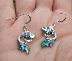 Goldfish paua shell earrings, goldfish sterling silver earrings, fish earrings, sea creature earrings, pisces birthday gift, star sign gift. by JanicesJewelsUK on Etsy