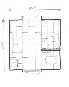 Vierkante badkamer