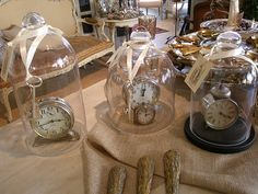 cloche over clock with key