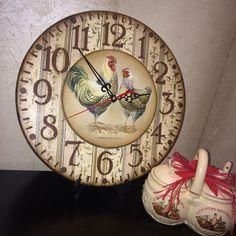 Купить Часы С КУРОЧКОЙ И ПЕТУХОМ декупаж - часы декупаж, Часы настенные декупаж