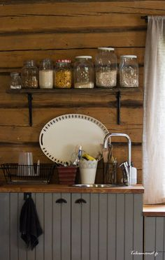 Introducing: House of Thousands of Stories - Talosanom Farmhouse Kitchen Island, Kitchen Dining, Kitchen Cabinets, Scandinavian Home, Cool Kitchens, Liquor Cabinet, Cottage, Interior, Cabin Fever