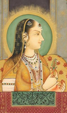 Arjumand Bano Begum aka Mumtaz Mahal daughter of Asaf Khan IV & wife of Shah Jahan For whom the Taj Mahal was built. Mughal Paintings, Indian Paintings, Empire Moghol, Rajasthani Painting, Vintage India, Indian Prints, Mughal Empire, India Art, Islamic Art