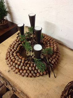 Acorn Centerpieces and Eco Accents, Fall Crafts and Thanksgiving Decorating Ideas Cheap Thanksgiving Decorations, Acorn Decorations, Thanksgiving Centerpieces, Christmas Decorations, Woodland Christmas, Rustic Christmas, Handmade Christmas, Christmas Advent Wreath, Fall Table Centerpieces