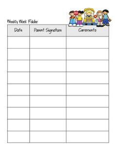 Friday folder parent communication sheet.