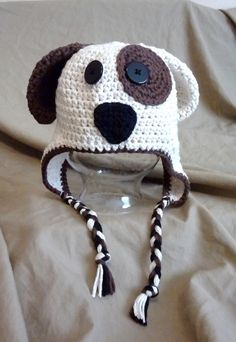 Brownie the spotted Puppy crochet hat by NuttyNoggins