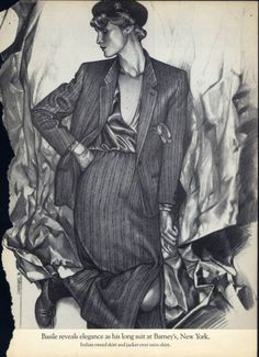 """Future Deco- The Fashion Illustrations of George Stavrinos (1948–1990)  """"George Stavrinos arrived in New York in November 1973, he had but five hundred dollars in his pocket and a portfolio of dreams tucked under his arm. At that time Fashion was the almost exclusive province of the photographic image. http://www.worthpoint.com/"""