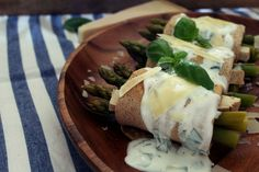 Rolled Crepes with Asparagus and Yogurt Sauce