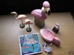 Set of Ceramic Flamingos Memorabilia Souvenirs 8 Items