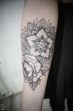 Mandala and Flower Tattoo - 30+ Intricate Mandala Tattoo Designs <3 <3