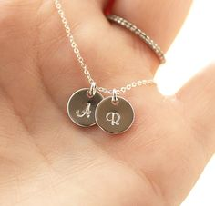 Two+Initial+Necklace+Sterling+Silver+Initial+Disc+by+BijouxbyMeg,+$34.00