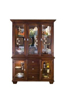 "Amish Hampton 54"" China Hutch The Hampton wears solid wood well. Display your treasured items in a china hutch built just for your home. Choose wood, stain, and features. American made. #hutch"
