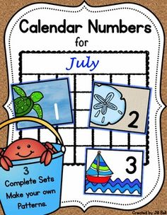 This product contains 3 complete sets of printable calendar numbers appropriate for the month of July.