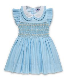 NEW Aurora Royal Baby, Girls Turquoise Hand Smocked  Cotton  Short Sleeve Dreess