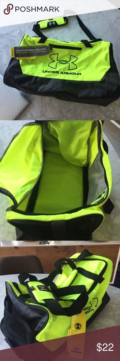 New Under Armour Neon Gym Bag Water resistant gym bag with lots of  compartments for gym equipment and sneakers f9447fff0b501
