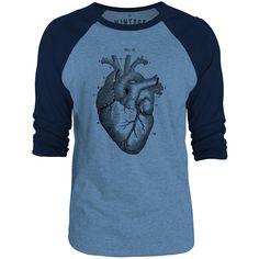 Mintage Heart Anatomy 3/4-Sleeve Raglan Baseball T-Shirt (Cobalt Marle / Navy)