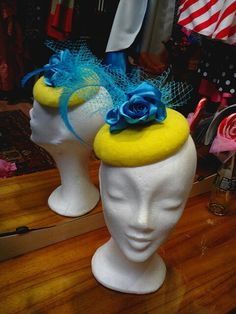 Yellow blue cocktal hat by Ozmonda Birthday Candles, Derby, Yellow, Blue, Dream Wedding, Gallery, Hats, Hat, Hipster Hat