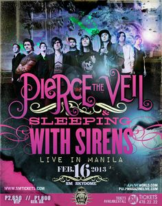 Pierce The Veil Posters | Pierce The Veil and Sleeping with Sirens LIVE in Manila